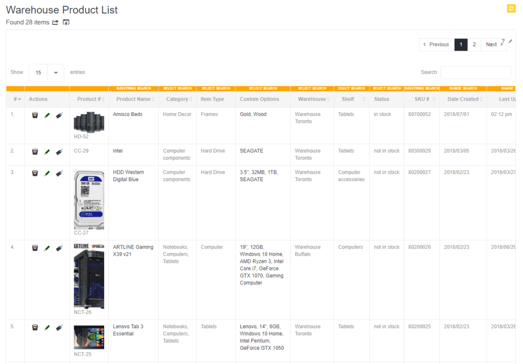 Warehouse Product List
